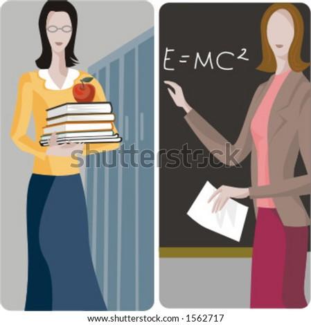 Teacher illustrations series. 1) General classes teacher. 2) Math teacher teaching a mathematical formula in a classroom. - stock vector