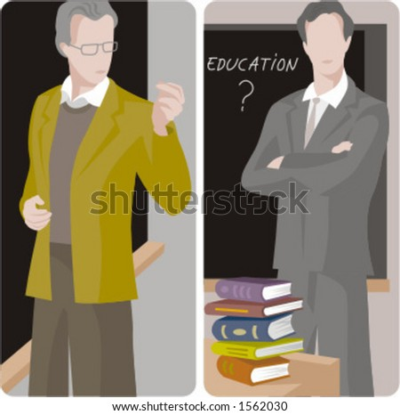 Teacher illustrations series.  1) General classes teacher teaching a class in a classroom. 2) General classes teacher teaching a class in a classroom. - stock vector