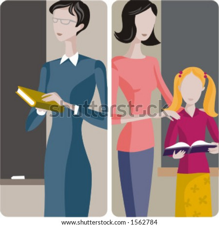 Teacher illustrations series.  1) General classes teacher teaching a class in a classroom 2) Elementary teacher examines  a student in a classrom. - stock vector