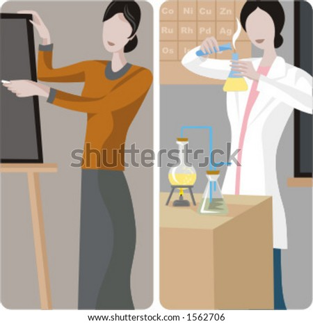Teacher illustrations series. 1) General classes teacher writing on a blackboard in a classroom. 2) Chemistry teacher performing an experiment in a classroom. - stock vector