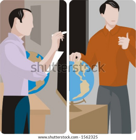 Teacher illustrations series.  1) Geography teacher teaching a class and writing on a blackboard in a classroom. 2) Geography teacher teaching a class in a class room. - stock vector