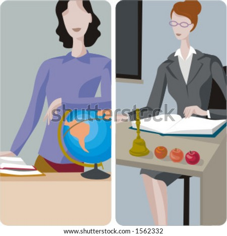 Teacher illustrations series.  1) Geography teacher teaching a class. 2) General classes teacher teaching a class in a classroom. - stock vector