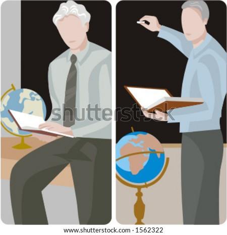 Teacher illustrations series.  1) Geography teacher teaching a class in a class room. 2) Geography teacher teaching a class and writing on a blackboard in a classroom. - stock vector