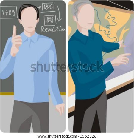 Teacher illustrations series.  1) History teacher teaching a class in a classroom. 2) History teacher teaching a class and pointing at a map in a classroom. - stock vector