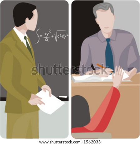 Teacher illustrations series.  1) Math teacher looking at the mathematical problem on the blackboard. 2) General classes teacher examining a student. - stock vector