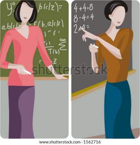 Teacher illustrations series. 1) Math teacher solving a mathematical problem on a blackboard. 2) Elementary teacher teaching math in a classroom. - stock vector