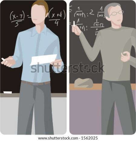 Teacher illustrations series.  1) Math teacher teaching a class in a class room. 2) Math teacher teaching a class in a class room. - stock vector
