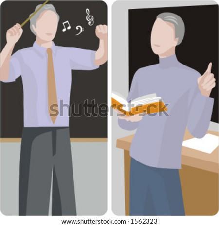 Teacher illustrations series.  1) Music teacher teaching a class. 2) A general classes teacher teaching a class in a classroom. - stock vector