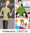 Teacher illustrations series. 1) Music teacher teaching a lesson in a classroom. 2) Art teacher and her class in a classroom. - stock vector