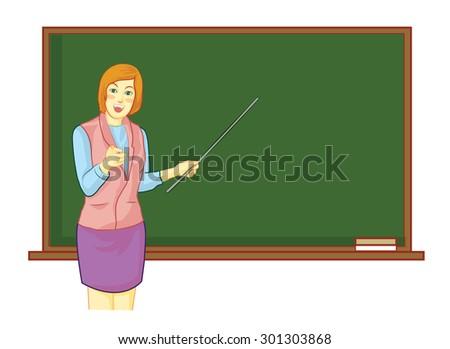 Teacher in front of classroom - stock vector