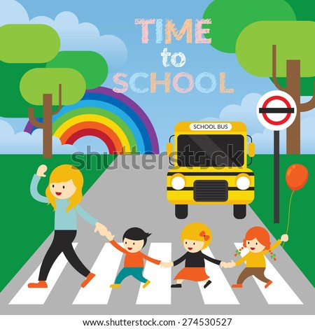 Teacher lead Kids cross the Street to School, Kindergarten, Preschool, Education, Learning and Study Concept