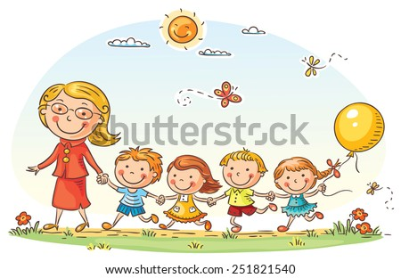 Teacher leading kids for a walk in the kindergarten - stock vector