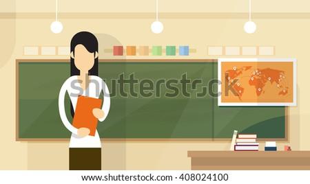 Teacher Over Class Board Classroom Woman With Book Lesson Flat Design Vector Illustration - stock vector