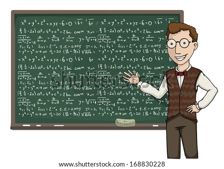 Teacher pointing at a black board with mathematical formulas, vector illustration - stock vector