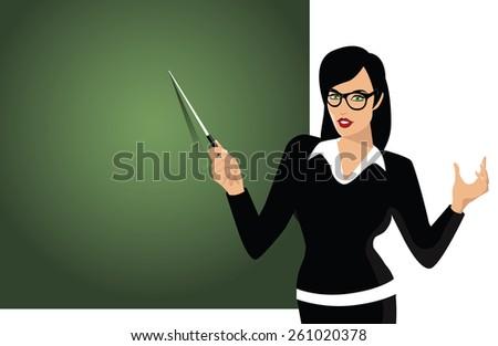 Teacher pointing to blackboard. EPS10 vector illustration for advertising, promotion, poster, flier, blog, article, social media, marketing, education, travel, back to school - stock vector