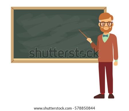 Teacher, professor standing in front of blank school blackboard vector illustration. School teacher in glasses, male teacher near blackboard