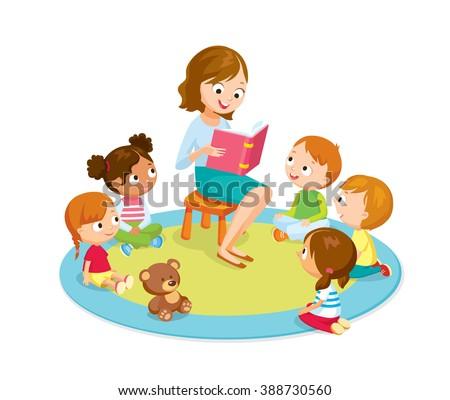 teacher reading for kids in the kinder garden - stock vector
