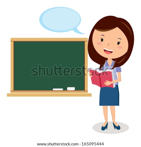 Teacher. Teacher or Office lady holding book with Board and speech bubble. - stock vector