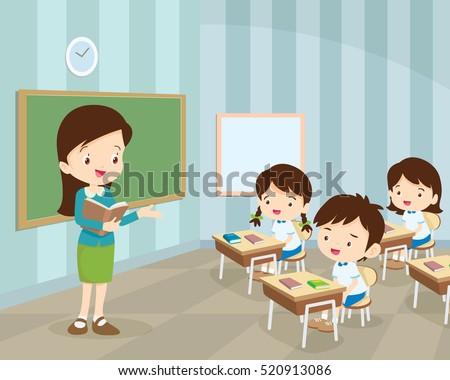 teacher teaching students classroom world book stock