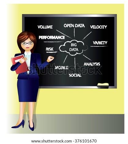 teacher who teaches business intelligence - stock vector