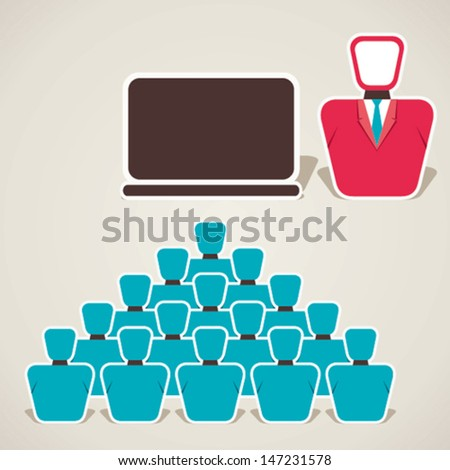 teacher with computer and student classroom vector - stock vector