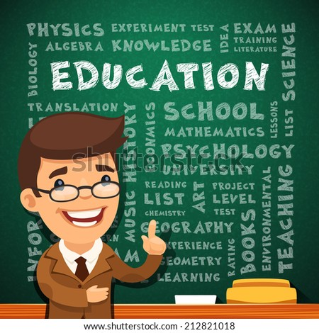 Teacher With Education Poster on Blackboard. - stock vector