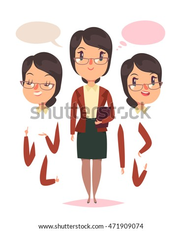 Teacher woman. Heads and hands elements. Vector character.
