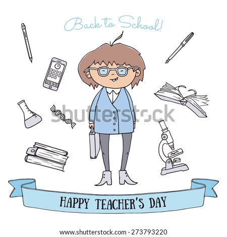 Teachers day vector greeting card. Hand drawn doodle of professor character holding a portfolio. Education icons on background. - stock vector