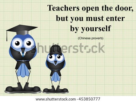 Teachers open the door Chinese proverb on graph paper background with copy space for own text