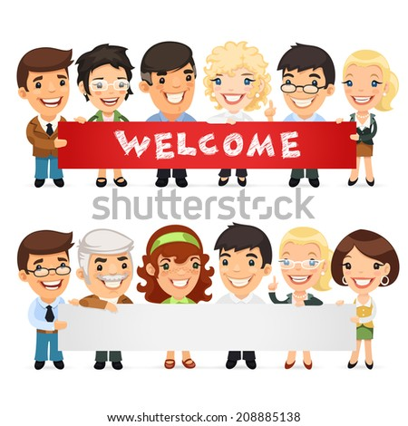 Teachers Presenting Empty Horizontal Banner. In the EPS file each element is grouped separately. - stock vector
