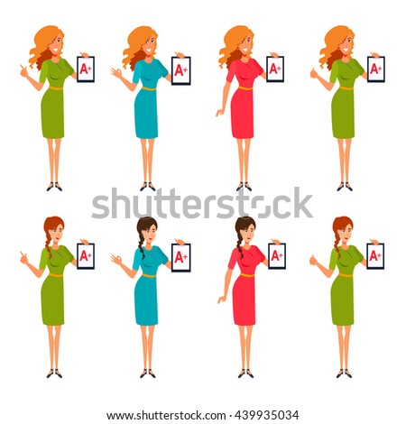 Teachers stand, hold tablet, clipboard with excellent mark A+. Women shows a hand gesture okay, good job, well done, all right, point a finger up. Vector isolated set of flat cartoon characters. - stock vector
