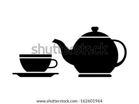 Teacup and teapot    - stock vector