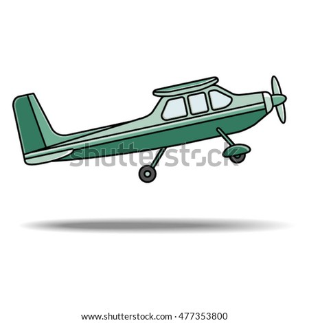 Teal Color Propeller Plane Take Offvector Stock Vector 477353800