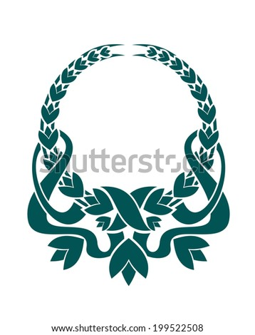 Teal colored foliate circular wreath logo with ornate swirling ribbons in a symmetrical pattern isolated over white background - stock vector
