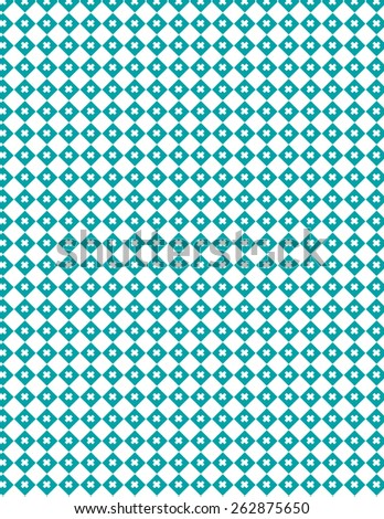Teal diamond pattern with small x over white background - stock vector