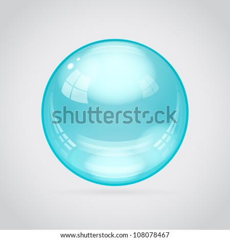Teal glossy sphere isolated on gray-white background