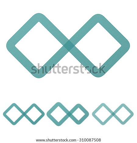 Teal line infinite logo design set - stock vector