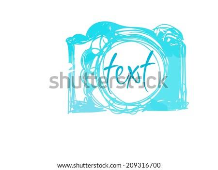 teal watercolor camera icon vector file - stock vector