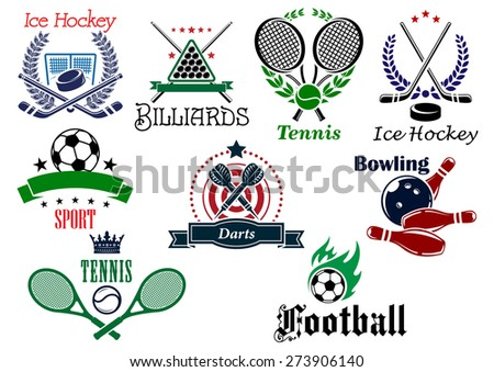 Team and individual sports heraldic emblems with game equipments and design elements for football, soccer, billiards, ice hockey, tennis, bowling and darts - stock vector