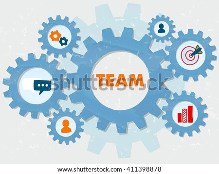 team and symbols and person signs in grunge flat design gear wheels infographic, business team building concept, vector - stock vector