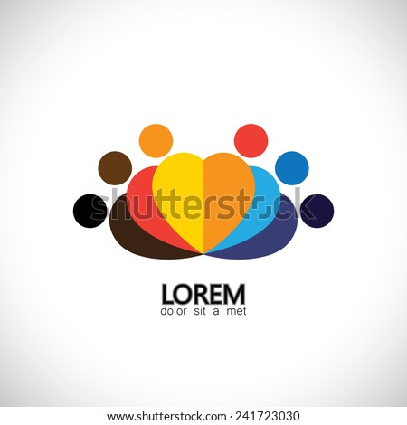 team and teamwork, close companions - vector icon. This graphic also represents concepts like employees connected, family love, community people together, unity & solidarity, social connections - stock vector