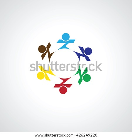 team and teamwork of group of employees  - vector icon. This graphic also represents concepts like employees connected. family love. community people together, unity & solidarity - stock vector