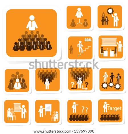 Team Building Icon for Business Concept - stock vector