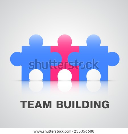 Team building puzzle pieces concept - stock vector