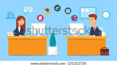 Team collaboration, business concept. Vector illustration, flat style - stock vector