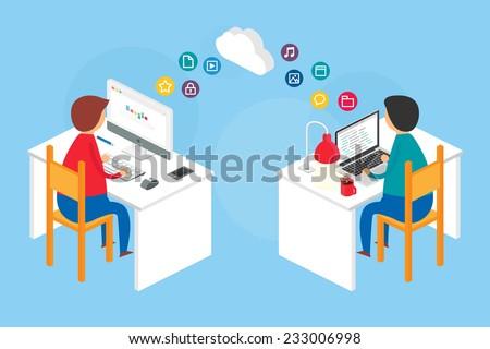 Team collaboration, website development process. Vector illustration, isometric style  - stock vector