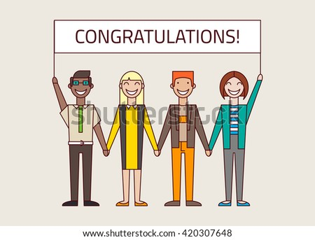 Team congratulates their colleague. Set of diverse business people isolated on bright background. Different nationalities and dress styles. Cute and simple flat cartoon style. - stock vector