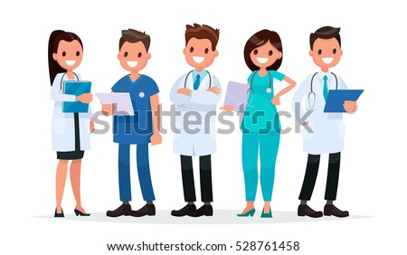 Team doctors on a white background. Vector illustration in  flat style
