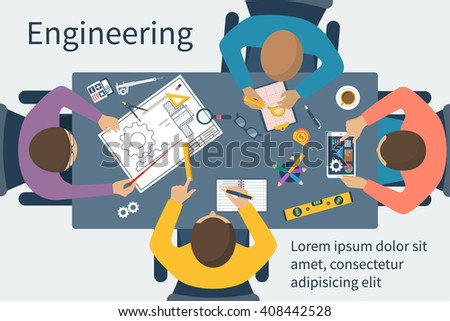 Team engineers at table. People at table discussing the engineering project. Drawing tools. Training, conferences, meetings. Teamwork creative people. Development of engineering projects. Vector, flat - stock vector