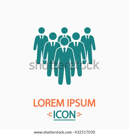 team Flat icon on white background. Simple vector illustration - stock vector